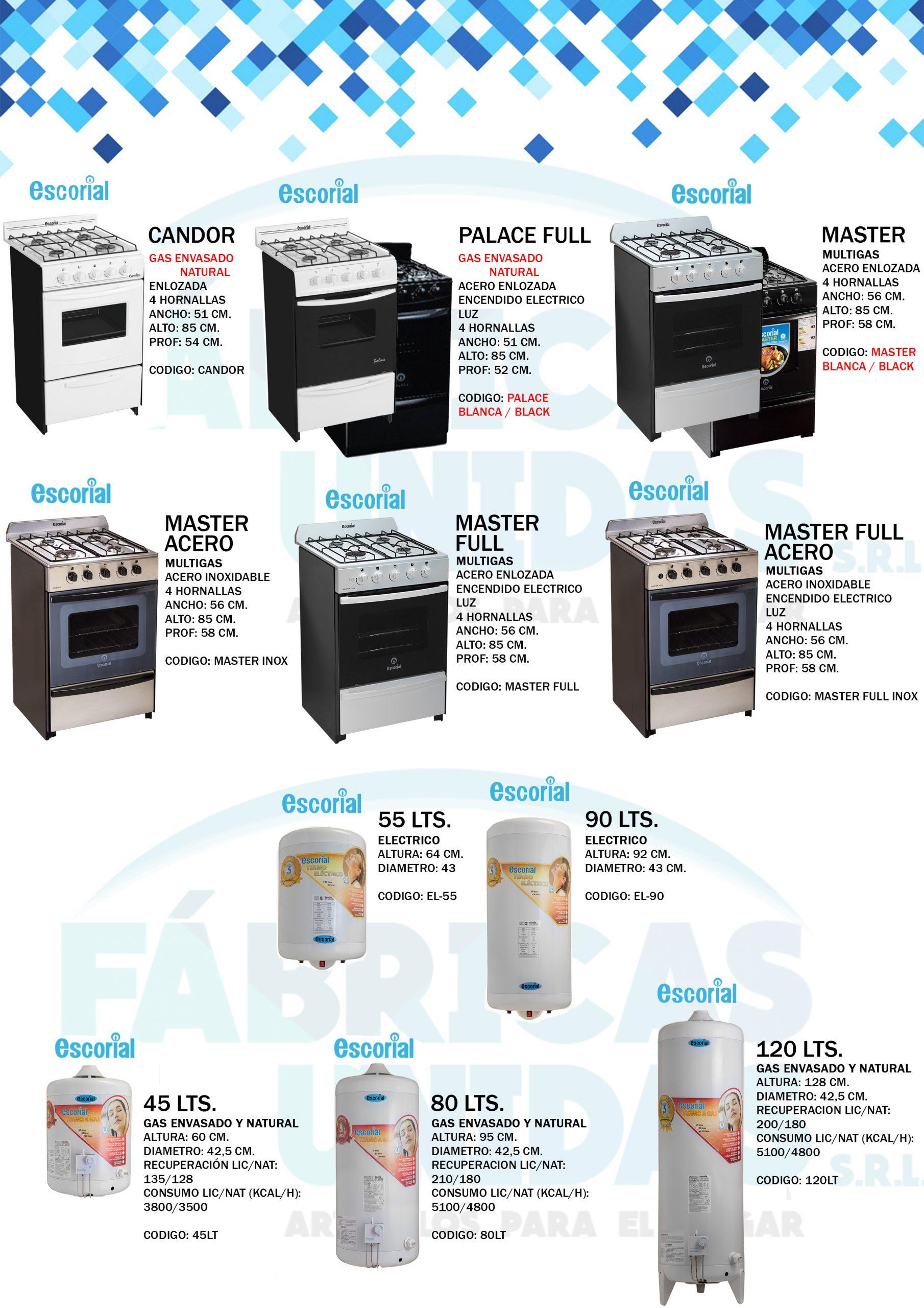 6 cocinas y termotanques ESCORIAL